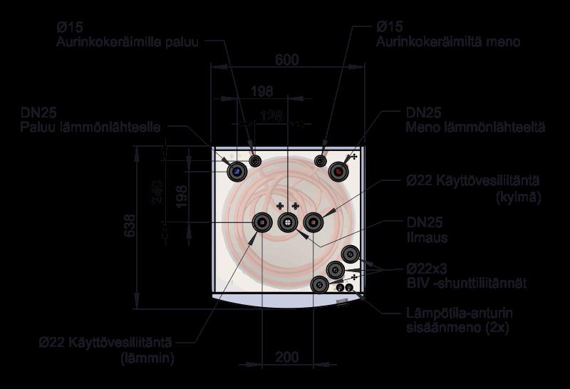 Energiavaraaja TIDA 300L läpileikkaus päältä