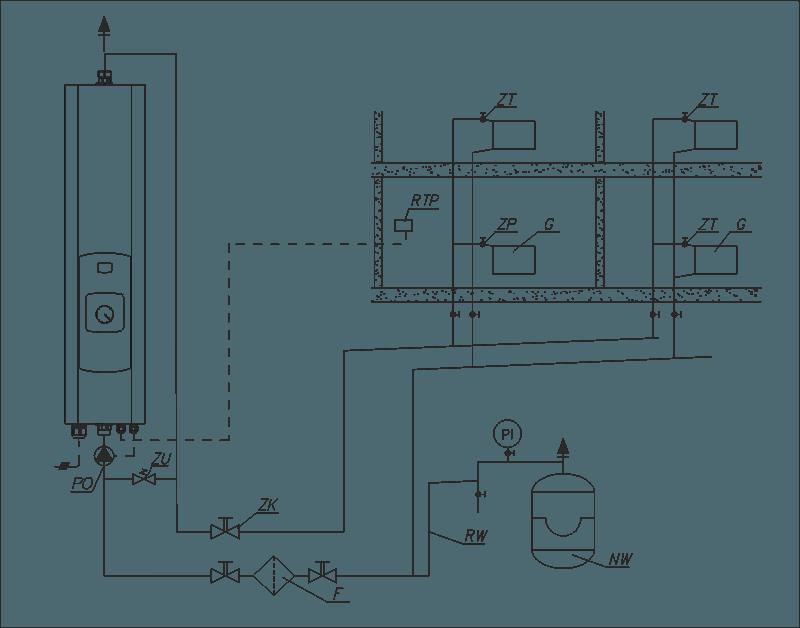 Sähkökattila EKCO A1 asennusesimerkki