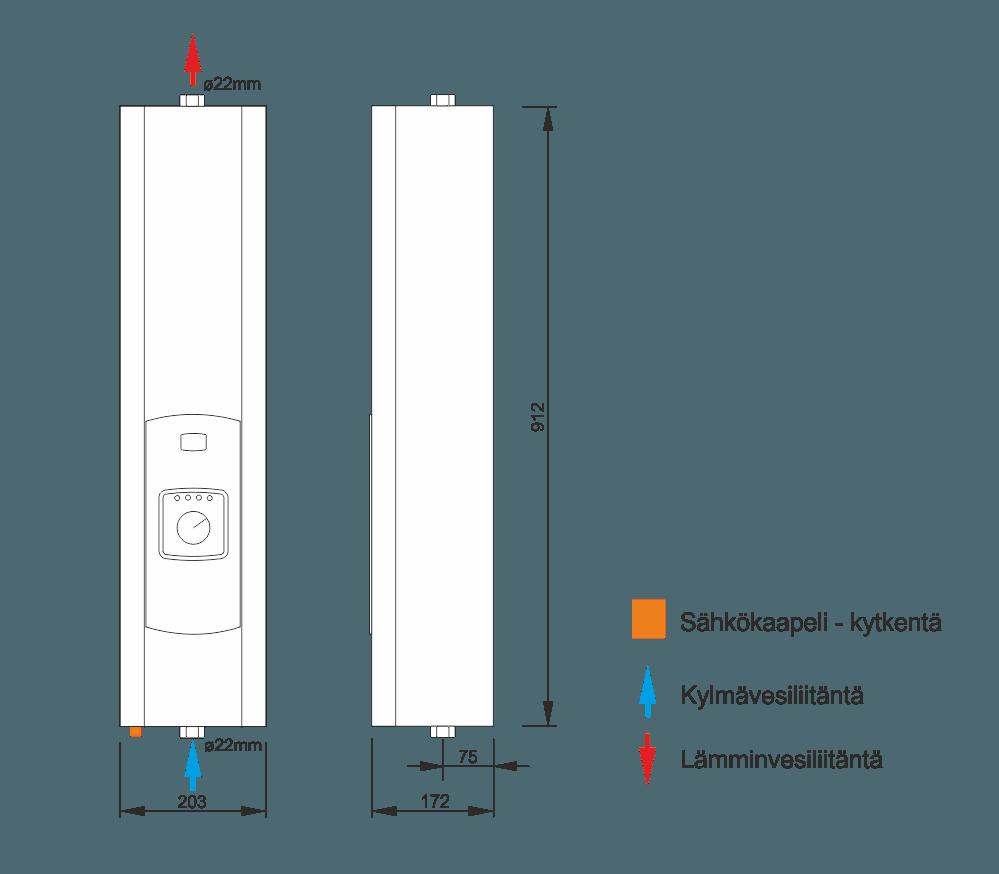 Sähkökattila EKCO A1 mitat