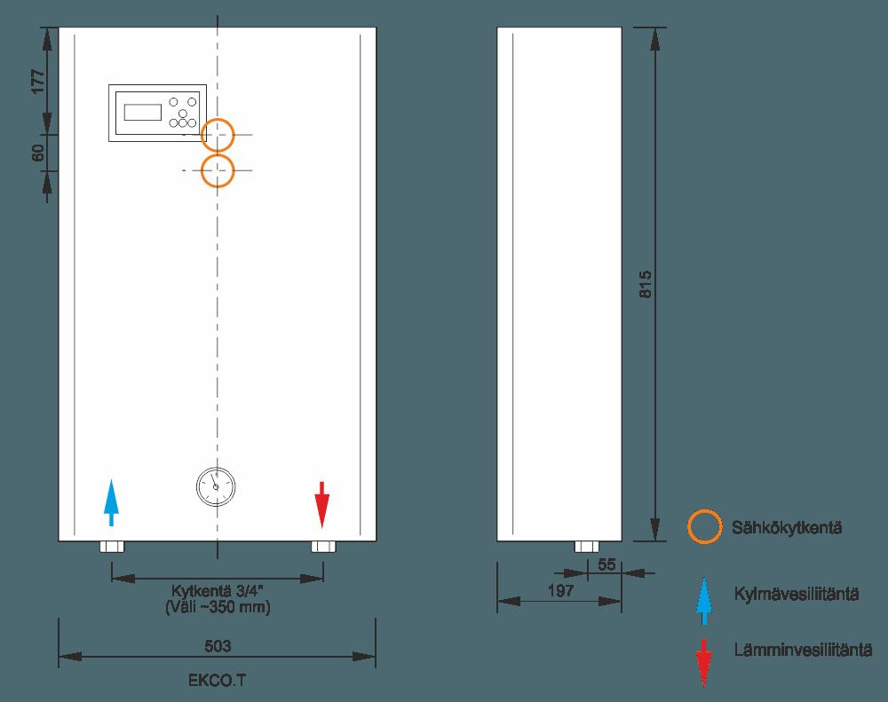 Sähkökattila EKCO T mitat