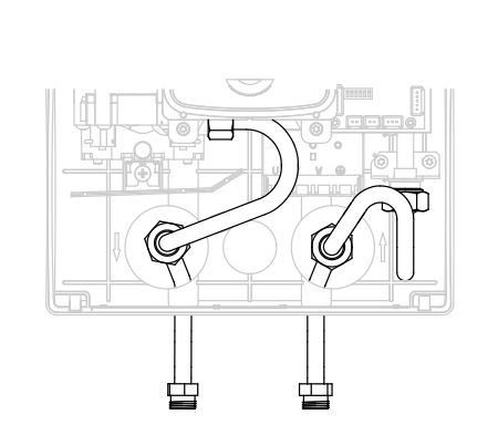 KDE5 vedenlämmitin putkiyhteet alaspäin