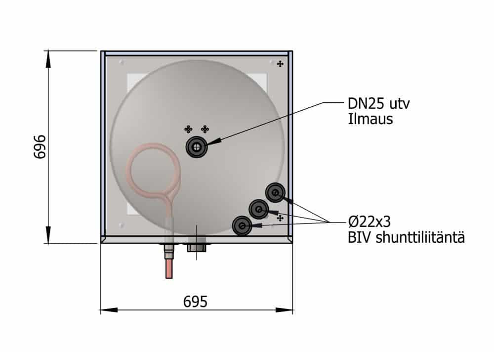 Energiavaraaja TIV 500L läpileikkaus päältä